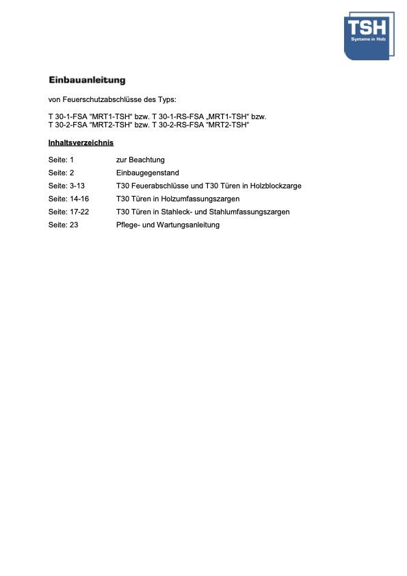 Einbauanleitung und Wartungsanleitung MRT