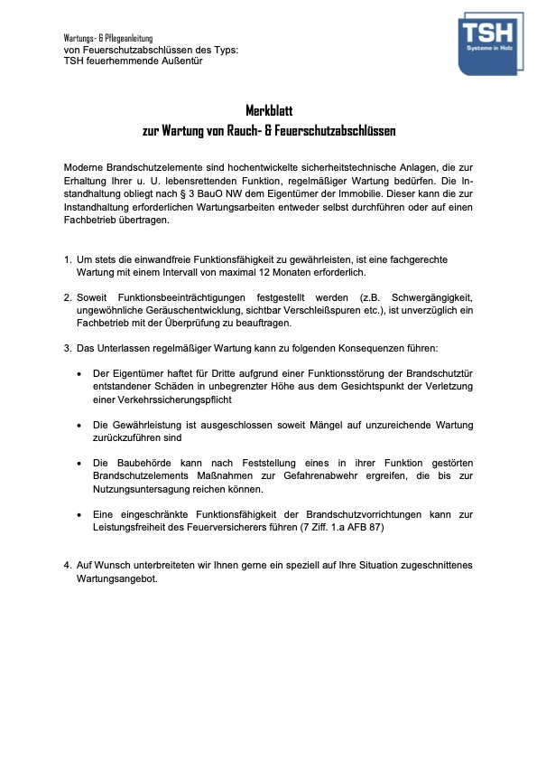Pflege Wartungsanleitung TSH feuerhemmende Aussentuer