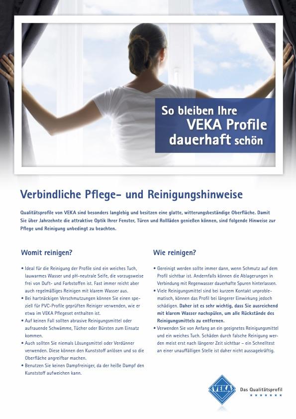 Pflegehinweise Veka