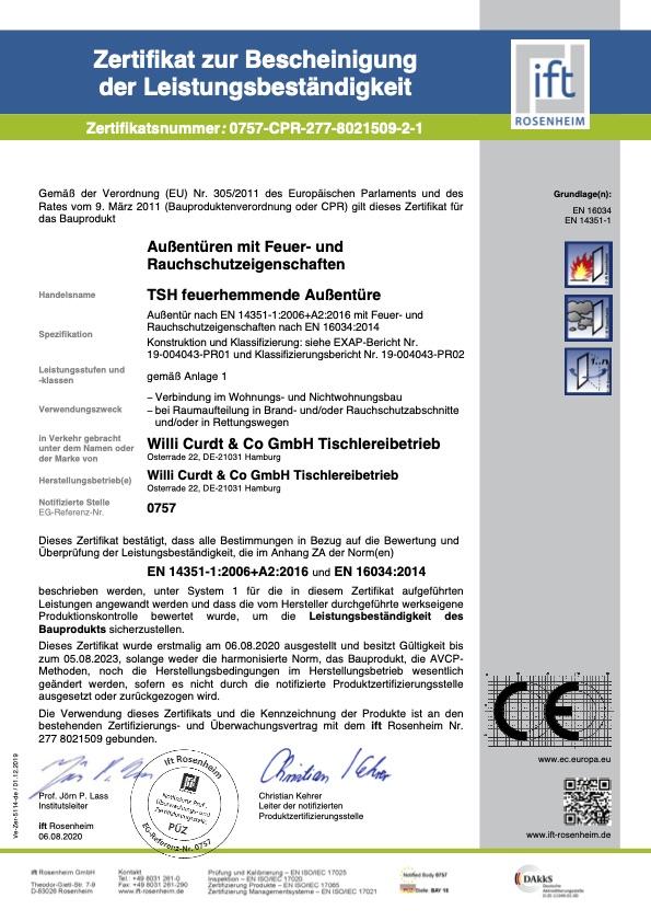 Zertifikat zur Bescheinigung der Leistungsbestaendigkeit 277 8021509 2 de 1