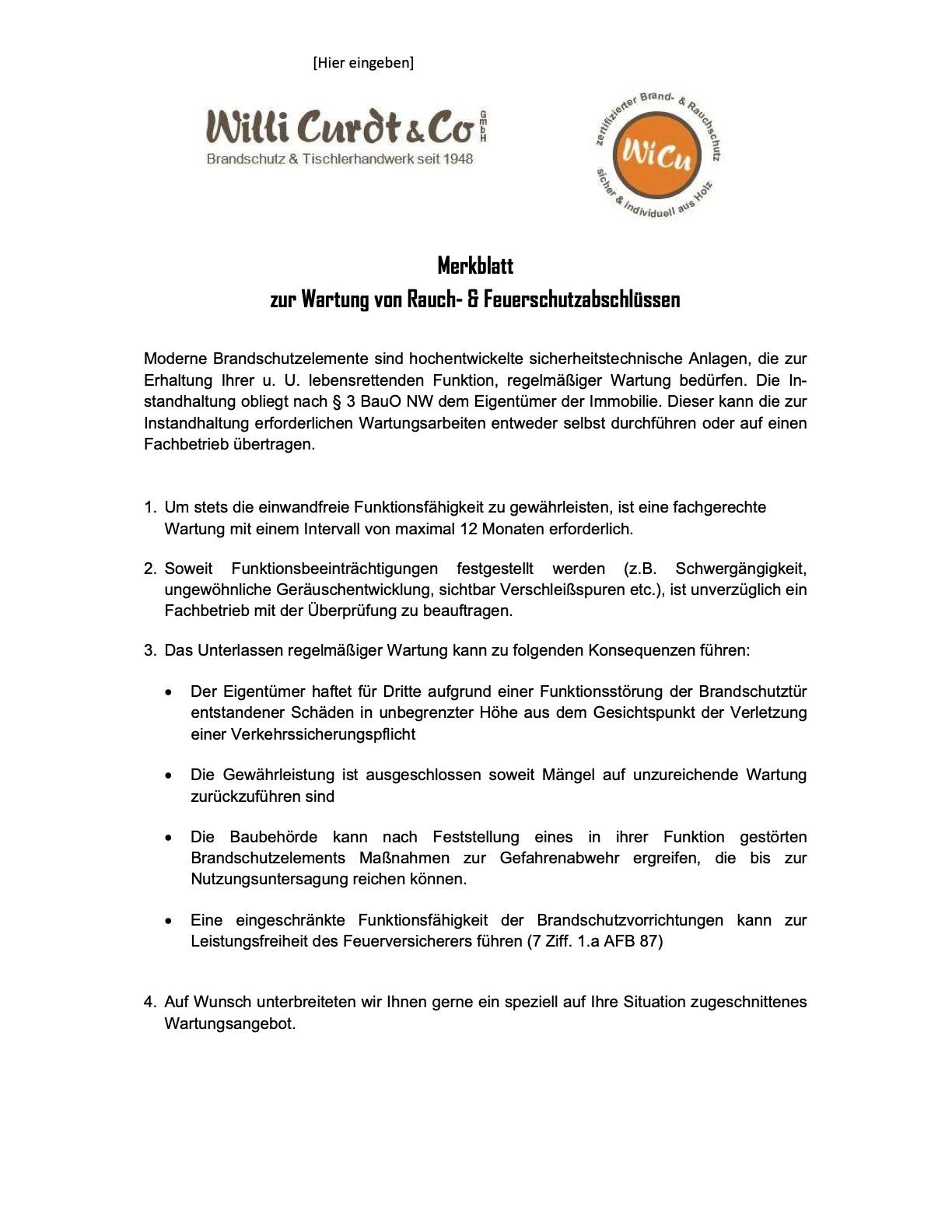 WiCu Pflege Wartungsanleitung TSH feuerhemmende Aussentuer
