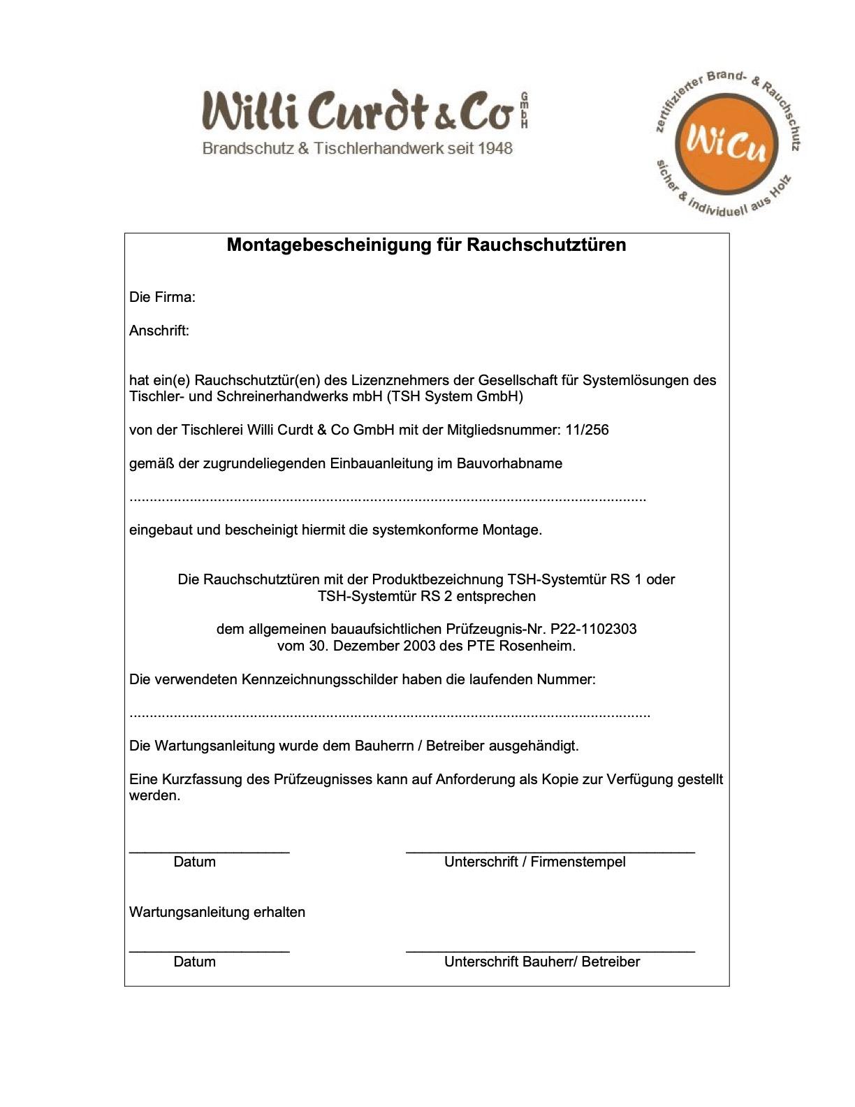 Montagebescheinigung von RS Innentuerelementen